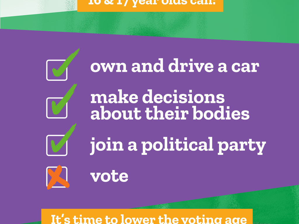 16 & 17 year olds can own and drive a car, make decisions about their bodies and join a political party - but they cannot vote! It's time to lower the voting age.